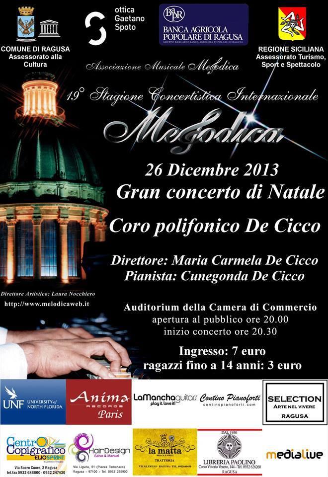 Gran concerto di Natale 2013 Assoc. Melodica Ragusa