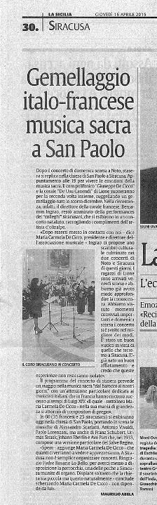 Articolo La Sicilia gemellaggio con De Usu Canendi